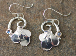 Silver Drop Earring with Stone-02